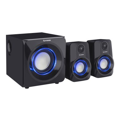 Sistema multimedia de audio 2.1 950 W PMPO con luz LED