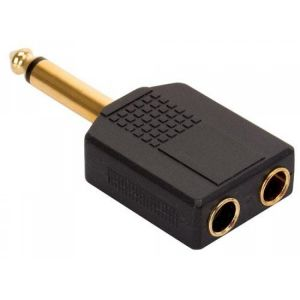 Adaptador elite de plug 6,3 mm a 2 jacks 6,3 mm, monoaural