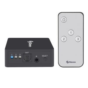 Selector de audio digital (Toslink) de 3 entradas