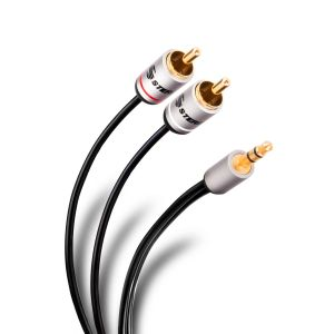 Cable plug 3,5 mm a 2 plug RCA de 1,8 m, ultradelgado y conectores reforzados