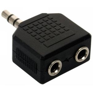Adaptador de 2 jacks 3,5 mm a plug 3,5 mm, estéreo