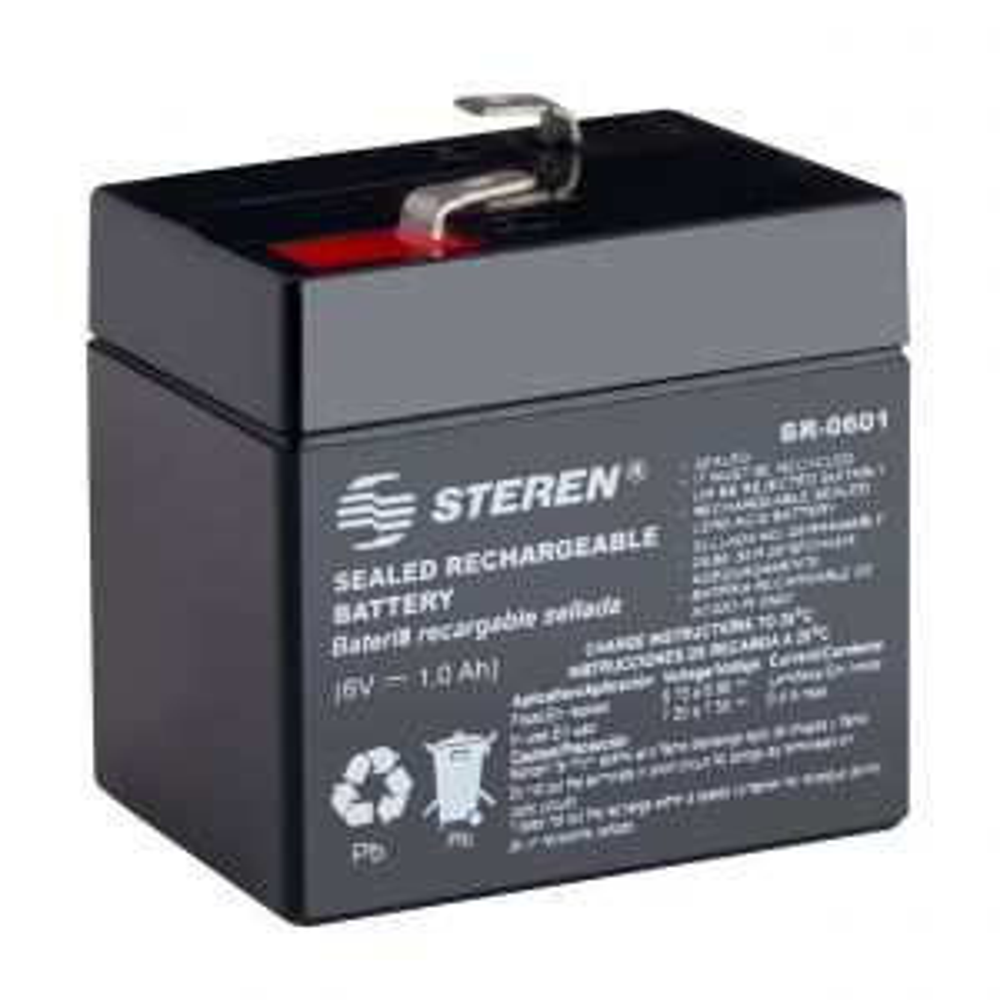 Batería sellada de ácido-plomo, 6 Vcc  1 Ah
