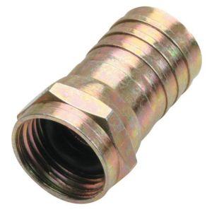 """Juego de 2 conectores macho tipo """"F"""" para cable RG6, de latón, con anillo y gel de silicón para intemperie"""
