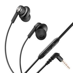 Audífonos manos libres con sujeción de imán, control de volumen y cable tipo cordón color negro