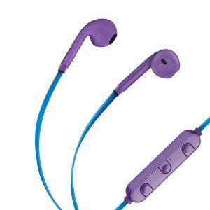 Audífonos Bluetooth XBass con cable plano color azul