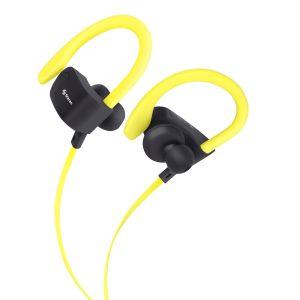 Audífonos Bluetooth Sport Free con cable plano color amarillo