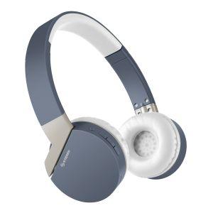 Audífonos Bluetooth* con batería de hasta 12 h y reproductor MP3 color azul