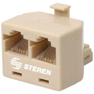 Adaptador telefónico de 2 jacks a 1 plug, de 4 contactos
