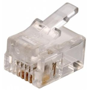 Juego de 2 plugs telefónicos modulares RJ11, de 4 contactos