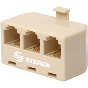 Adaptador telefónico de 3 jacks a 1 plug, de 4 contactos