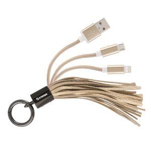 Cable 2 en 1, USB a micro USB y lightning, tipo llavero